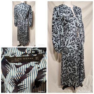 Zara Woman Blue Pinstripe Dress Size S